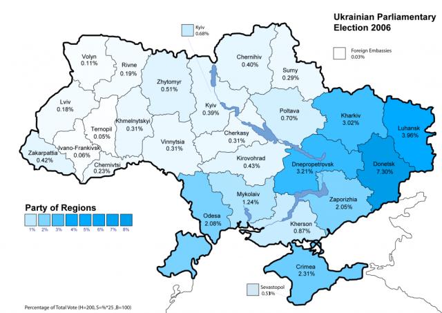 i consensi del Partito delle Regioni nelle elezioni del 2006